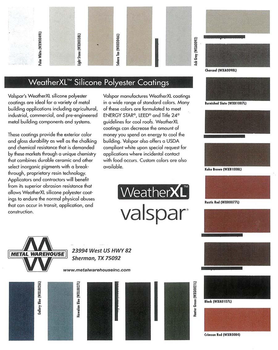 Metal Warehouse Color Chart